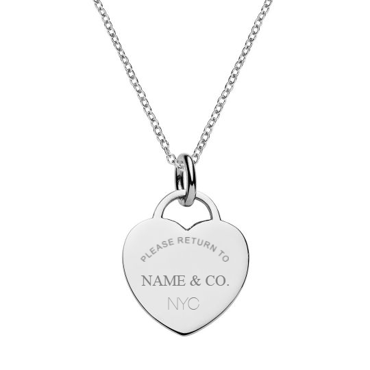 Your Name & Co. Engraved Heart Tag