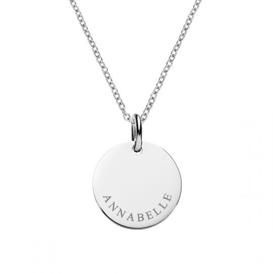 SILVER DISC CURVED NAME NECKLACE